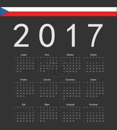 Square black Czech 2017 year vector calendar