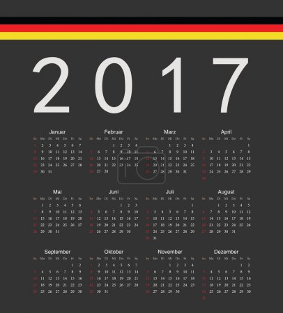 Square black german 2017 year vector calendar
