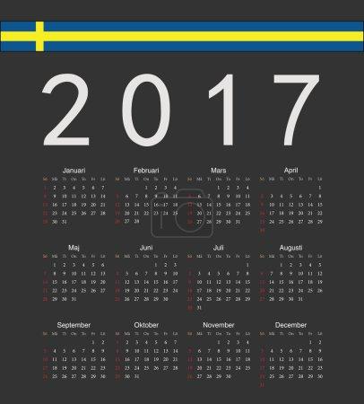 Square black Swedish 2017 year vector calendar