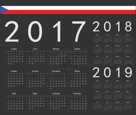 Set of black Czech 2017, 2018, 2019 year vector calendars