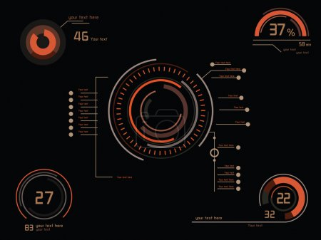 Illustration for Futuristic orange infographics as head-up display - Royalty Free Image