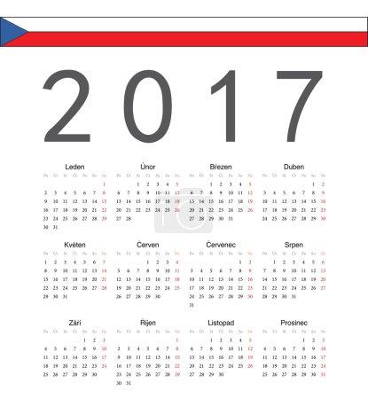 Simple Czech 2017 year vector calendar