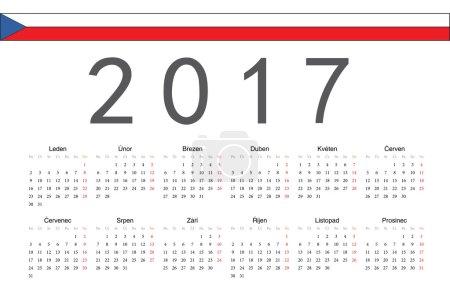 Czech 2017 year vector calendar