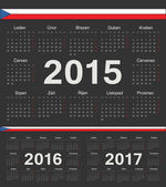 Vector black Czech circle calendars 2015 2016 2017