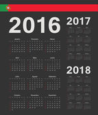Set of black Portuguese 2016 2017 2018 year vector calendars Week starts from Sunday