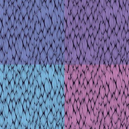 Illustration pour Collection de motifs vectoriels sans couture avec des éléments courbes - image libre de droit