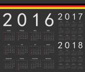 Set of black German 2016 2017 2018 year vector calendars Week starts from Sunday