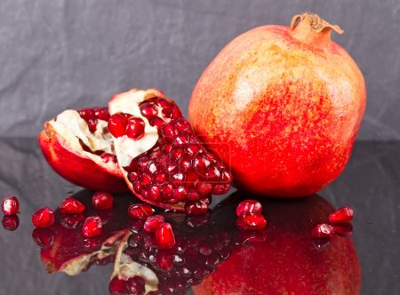 Peeled and ripe pomegranate