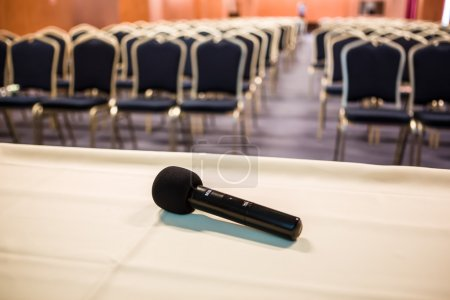 Photo for Horizontal shot of microphone and chairs in auditorium - Royalty Free Image