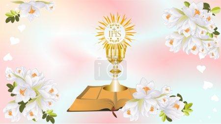 Foto de Fondo con símbolos característicos de la Sagrada Comunión - Imagen libre de derechos