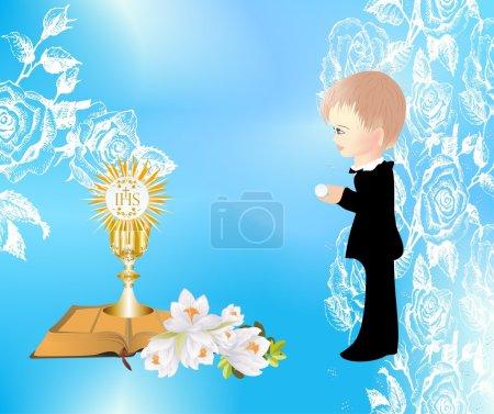 Illustration pour Fond avec un garçon et symboles caractéristiques de la communion sainte - image libre de droit