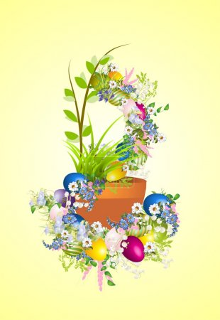Illustration pour Composition avec des œufs de Pâques colorés et des fleurs sur Pâques - image libre de droit