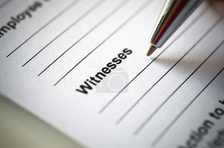Hand writing on incedent witnesses paper.