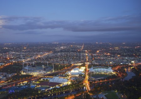 aerial view of stadiums, Melbourne