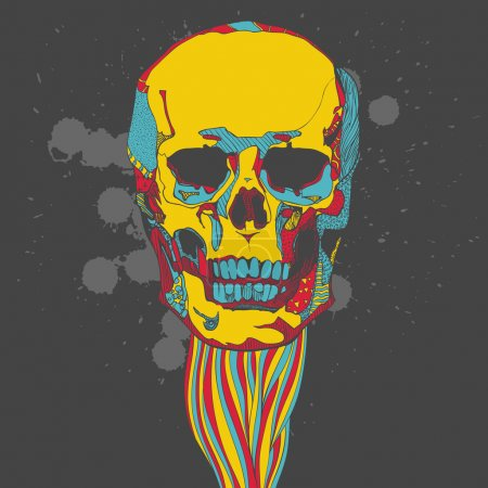 Illustration for Day of The Dead colorful Skull with ornament - Royalty Free Image