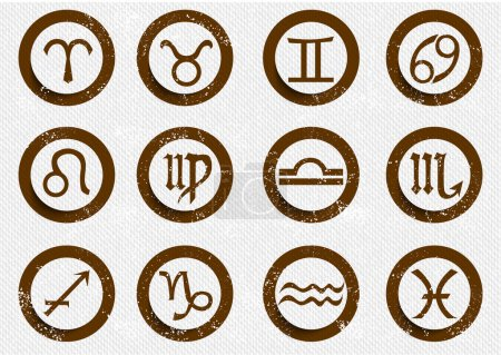 Illustration for Zodiac signs icons - Royalty Free Image