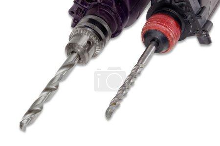 Drill bit and masonry drill bit in a chucks closeup