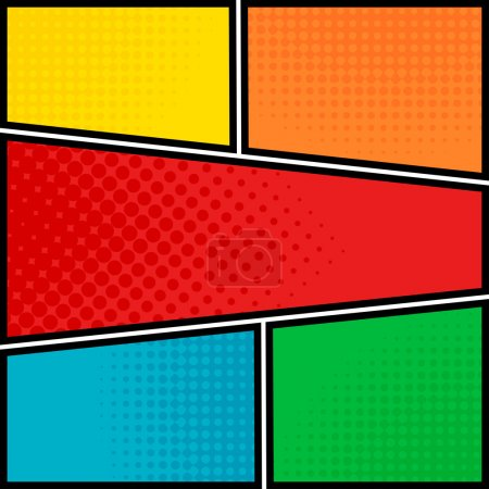 Illustration for Comics pop-art style blank layout template background vector illustration - Royalty Free Image