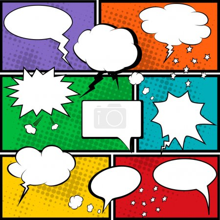 Illustration for Comic speech bubbles and comic strip background vector illustration - Royalty Free Image