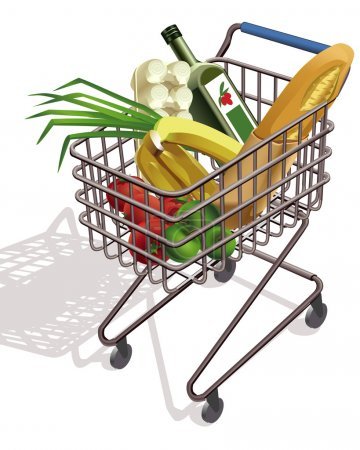 Illustration pour Chariot sur roues Supermarché avec différents produits - image libre de droit