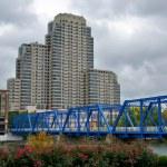 Blue bridge with buildings in Grand Rapids, Michig...