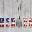 Flag star and stripe font for military heroes with...