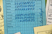 old-fashioned elementary school report card