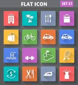 Vector application Hotel Services and Facilities Icons Set 3 in flat style with long shadows