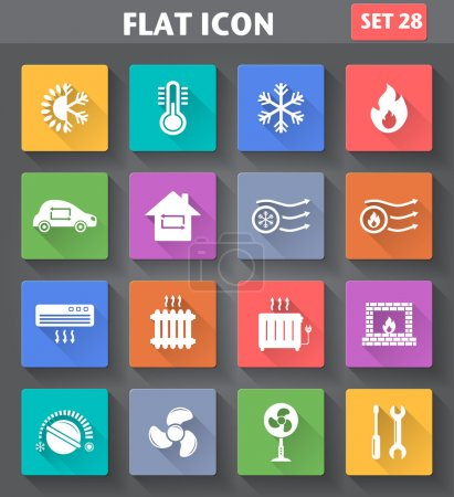 Heating and Cooling Icons set in flat style with long shadows.