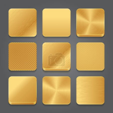 App icônes fond ensemble. Icônes de boutons métal doré