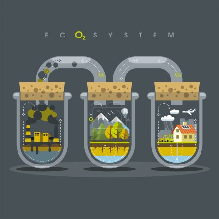 Illustration for Environmental illustration delicate balance and depending on the nature of human - Royalty Free Image
