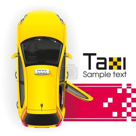 Illustration pour Taxi jaune avec le hayon ouvert aura une personne très importante sur le tapis rouge - image libre de droit