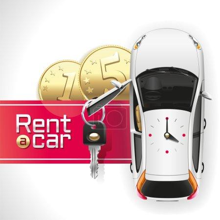 Illustration pour Voiture blanche avec une porte ouverte du conducteur, sur laquelle pend une clé, debout sur le tapis rouge sous lequel se trouvent les deux pièces d'or. Sur le toit de la voiture horloges analogiques montrent 4 : 00 . - image libre de droit