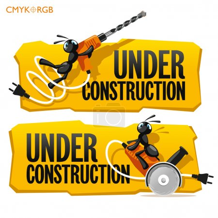 Illustration for Funny ants trying to use a large power tools - Royalty Free Image