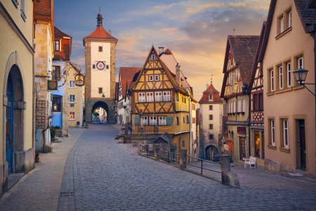 Photo for Image of the Rothenburg ob der Tauber a town in Bavaria, Germany, well known for its well-preserved medieval old town. - Royalty Free Image