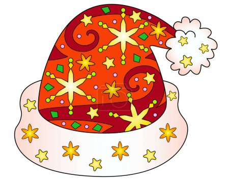 Illustration for Santa Claus hat - vector Christmas full color zentangle illustration - with snowflakes and stars. Template for stained glass, batik, coloring. Christmas zentangle with Santa's hat - Royalty Free Image