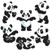 Set with cartoon panda bear  isolated images for little kids