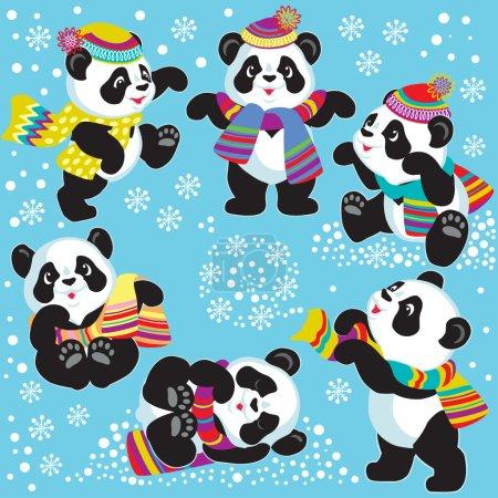 Illustration pour Set with cartoon panda bear in winter time , images for little kids - image libre de droit