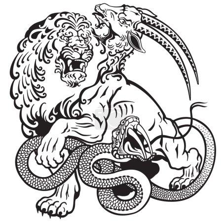 Illustration pour Le monstre mythologique chimère, illustration de tatouage noir et blanc - image libre de droit