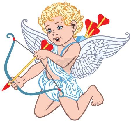 Illustration pour Dessin animé ange Cupidon tir flèche - image libre de droit