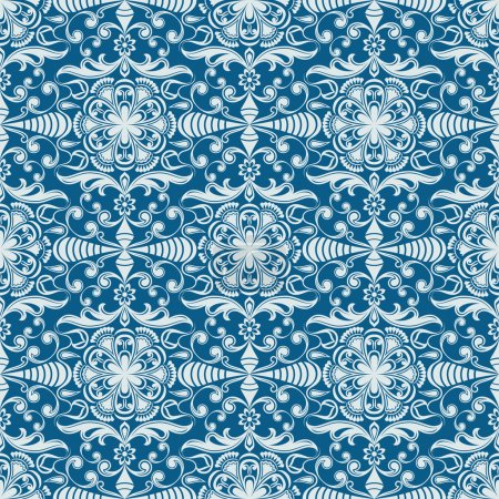 Sans couture hiver bleu motif de papier peint vecteur floral .