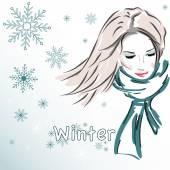 Vector illustration, beautiful girl, winter