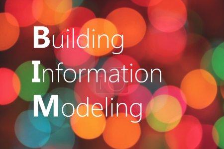 BIM (Building Information Modeling) acronym on colorful bokeh background