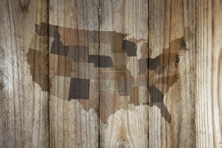 Photo for United States map on wooden background - Royalty Free Image