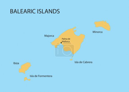 Balearic Islands map with indication of Palma de Mallorca