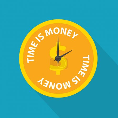 time is money writte on dollar coin clock face - vector illustration