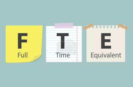 Illustration pour ETP Équivalent temps plein écrit sur des notes de mémoire- illustration vectorielle - image libre de droit