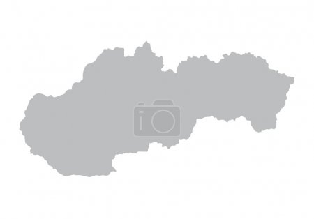 Grey map of Slovakia