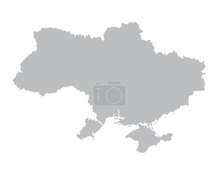 Grey map of Ukraine