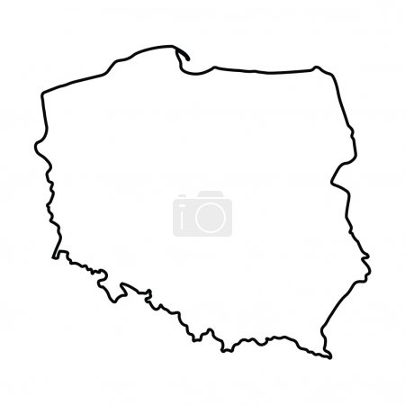 Illustration for Black abstract outline of Poland map - Royalty Free Image